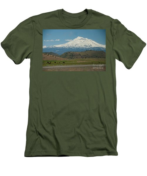 Mount Shasta Men's T-Shirt (Slim Fit) by Carol Ailles