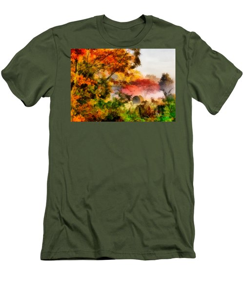 Men's T-Shirt (Slim Fit) featuring the painting My Front Yard by Lynne Jenkins