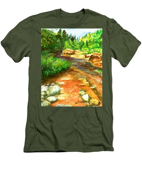Men's T-Shirt (Slim Fit) featuring the painting Oak Creek Red by Eric Samuelson