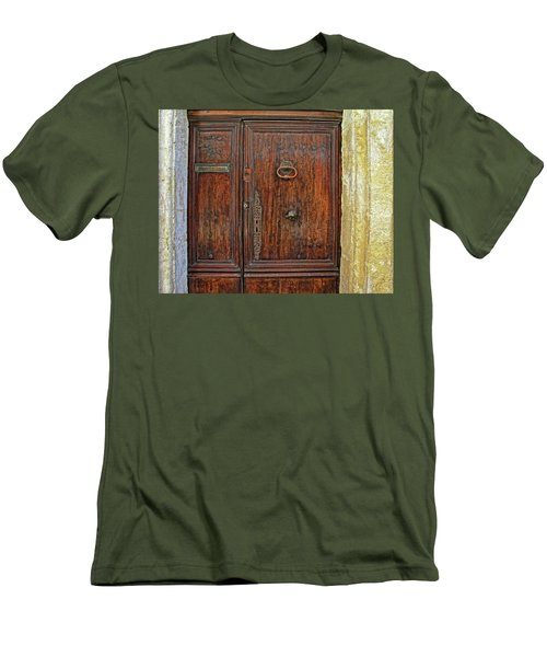 Men's T-Shirt (Slim Fit) featuring the photograph Old Door Study Provence France by Dave Mills