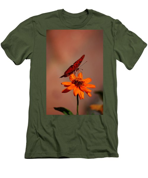 Orange Butterfly Orange Flower Men's T-Shirt (Slim Fit) by Lori Tambakis