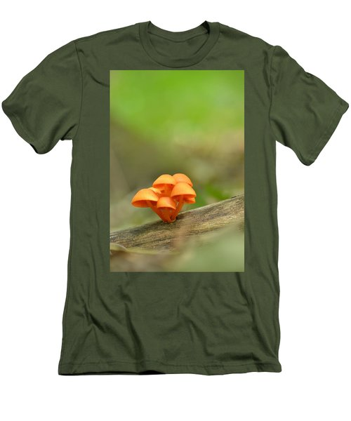 Men's T-Shirt (Slim Fit) featuring the photograph Orange Mushrooms by JD Grimes