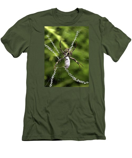 Men's T-Shirt (Slim Fit) featuring the photograph Orb Weaver by Joy Watson