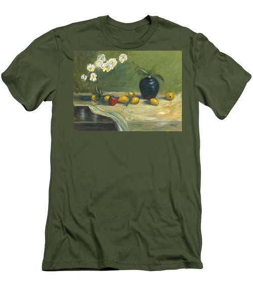 Men's T-Shirt (Slim Fit) featuring the painting Orchids And Vase by Marlyn Boyd