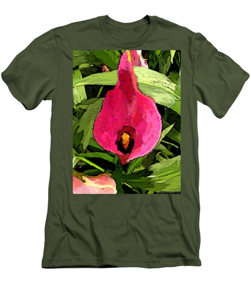 Men's T-Shirt (Slim Fit) featuring the photograph Painted Pink Cala Lily by Debbie Portwood