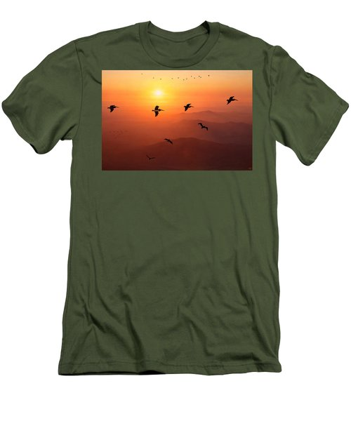 Men's T-Shirt (Slim Fit) featuring the photograph Pelican Migration by Chris Lord