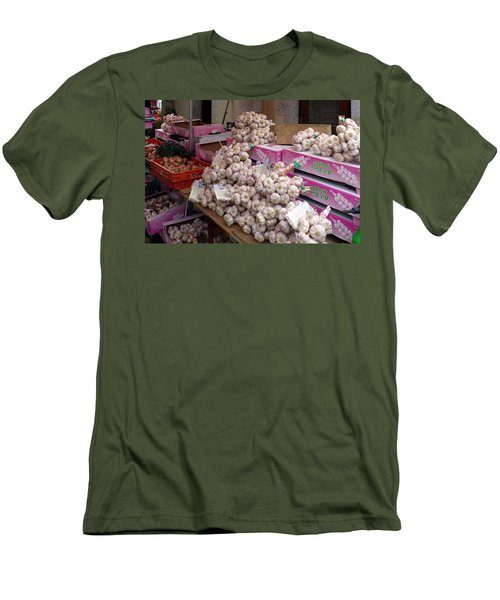 Men's T-Shirt (Slim Fit) featuring the photograph Pink Garlic by Carla Parris