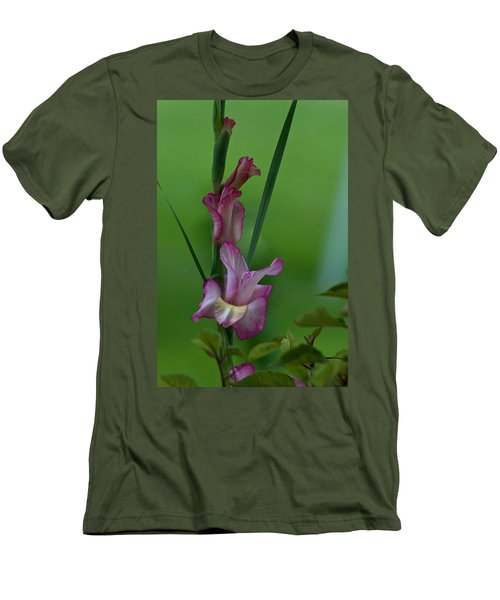 Men's T-Shirt (Slim Fit) featuring the photograph Pink Gladiolus by Ed Gleichman