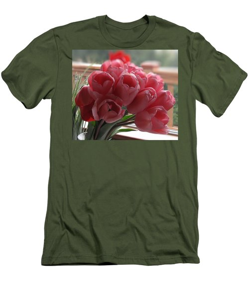 Men's T-Shirt (Slim Fit) featuring the photograph Pink Tulips In Vase by Katie Wing Vigil