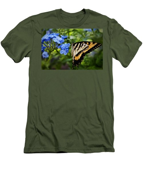 Men's T-Shirt (Slim Fit) featuring the photograph Plumbago And Swallowtail by Steven Sparks