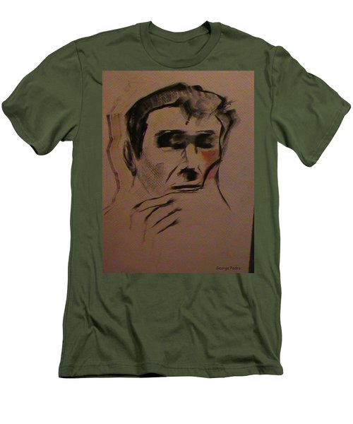 Men's T-Shirt (Slim Fit) featuring the painting Portrait Of Frank Frazetta by George Pedro