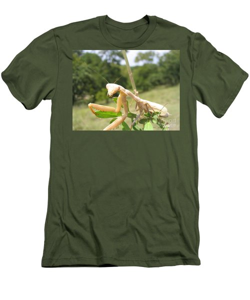Men's T-Shirt (Slim Fit) featuring the photograph Preying Mantis by Mark Robbins