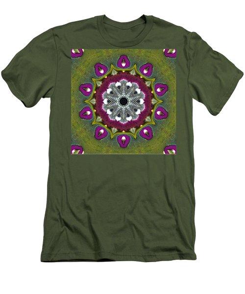 Men's T-Shirt (Slim Fit) featuring the digital art Purple Snakeskin Flower by Alec Drake