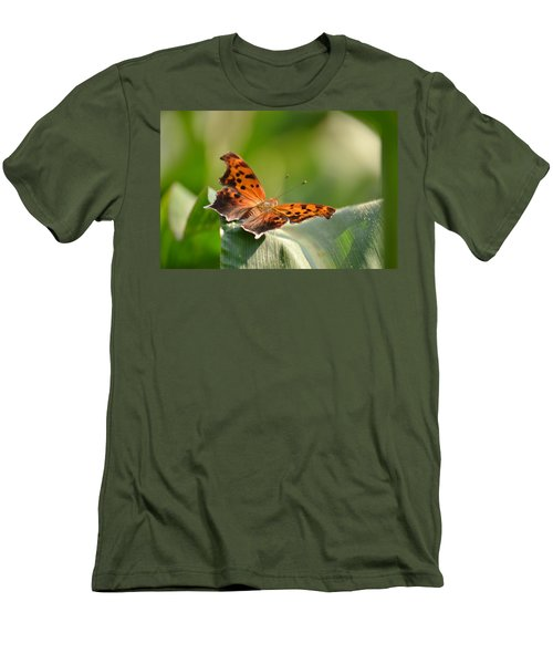 Men's T-Shirt (Slim Fit) featuring the photograph Question Mark Butterfly by JD Grimes