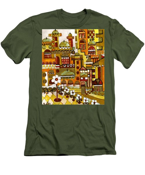Red Kasba Skyline Landscape Art Of Old Town Dome And Minarett Decorated With Flower Arch In Orange Men's T-Shirt (Slim Fit) by Rachel Hershkovitz