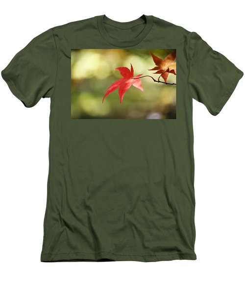 Men's T-Shirt (Slim Fit) featuring the photograph Red Leaf. by Clare Bambers