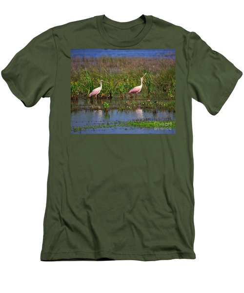 Roseate Spoonbills Men's T-Shirt (Slim Fit) by Louise Heusinkveld