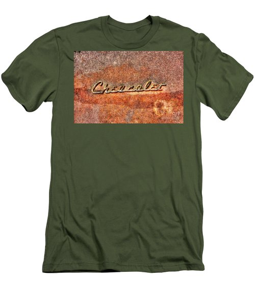 Rusted Antique Chevrolet Logo Men's T-Shirt (Slim Fit) by Dan Stone