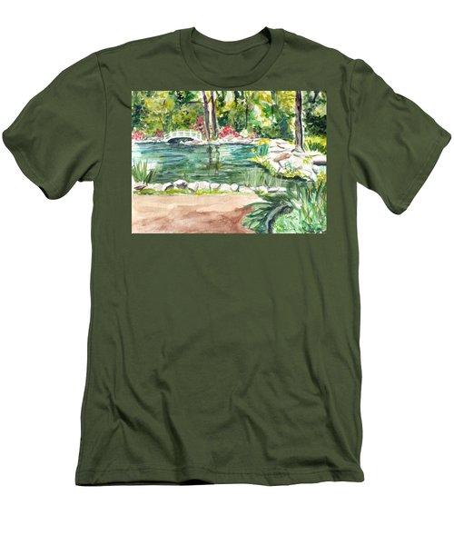 Men's T-Shirt (Slim Fit) featuring the painting Sayen Pond by Clara Sue Beym