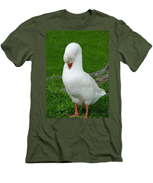 Men's T-Shirt (Slim Fit) featuring the photograph Shy Goose by Lisa Phillips