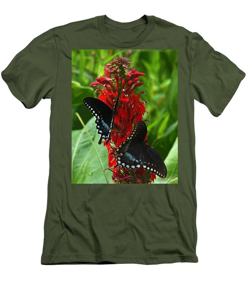 Spicebush Swallowtails Visiting Cardinal Lobelia Din041 Men's T-Shirt (Athletic Fit)