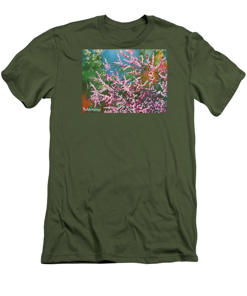 Men's T-Shirt (Slim Fit) featuring the painting Springs Blossoms  by Dan Whittemore