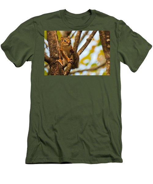 Men's T-Shirt (Slim Fit) featuring the photograph Squirrel On High by Cheryl Baxter