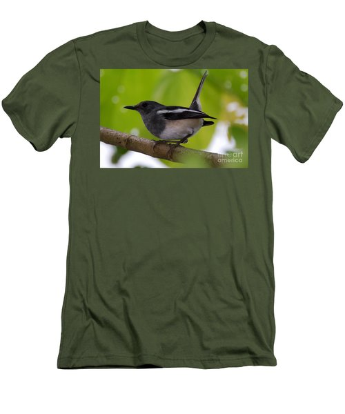 Men's T-Shirt (Slim Fit) featuring the photograph Study Of A Magpie-robin by Fotosas Photography