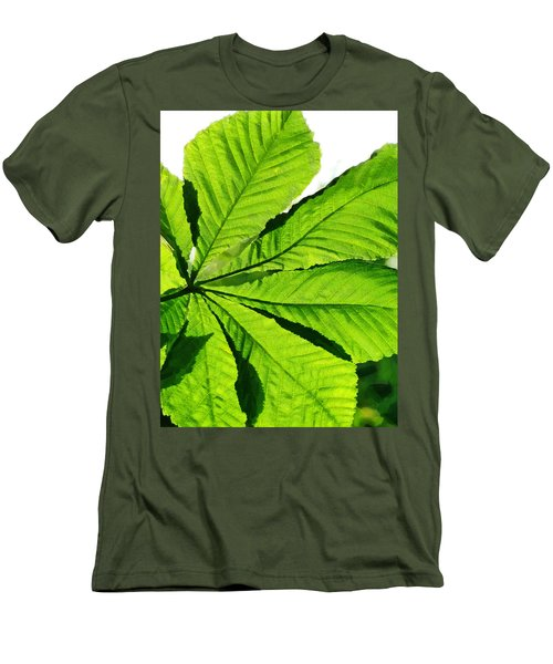 Men's T-Shirt (Slim Fit) featuring the photograph Sun On A Horse Chestnut Leaf by Steve Taylor