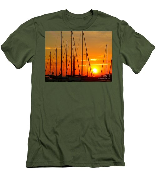 Sunset In A Harbour Digital Photo Painting Men's T-Shirt (Slim Fit) by Rogerio Mariani