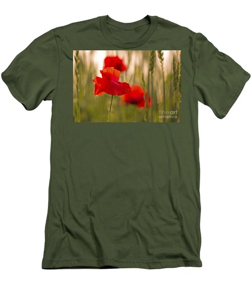 Men's T-Shirt (Slim Fit) featuring the photograph Sunset Poppies. by Clare Bambers