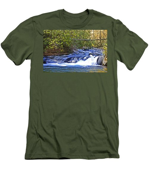 Men's T-Shirt (Slim Fit) featuring the photograph Swiftly Flowing River by Susan Leggett