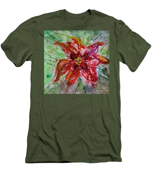 Men's T-Shirt (Slim Fit) featuring the painting The Christmas Poinsettia by Dragica  Micki Fortuna