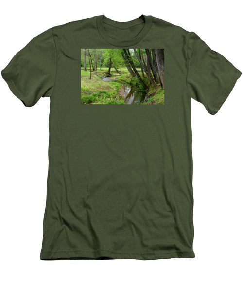 Men's T-Shirt (Slim Fit) featuring the photograph Toms Creek In Early Spring by Kathryn Meyer