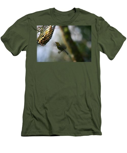Townsend Warbler In Flight Men's T-Shirt (Slim Fit) by Kym Backland