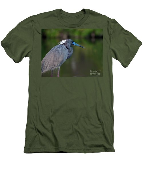Men's T-Shirt (Slim Fit) featuring the photograph Tricolored Heron by Art Whitton