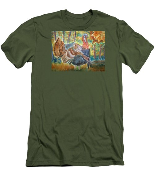 Men's T-Shirt (Slim Fit) featuring the painting Turkey In Fall by Belinda Lawson