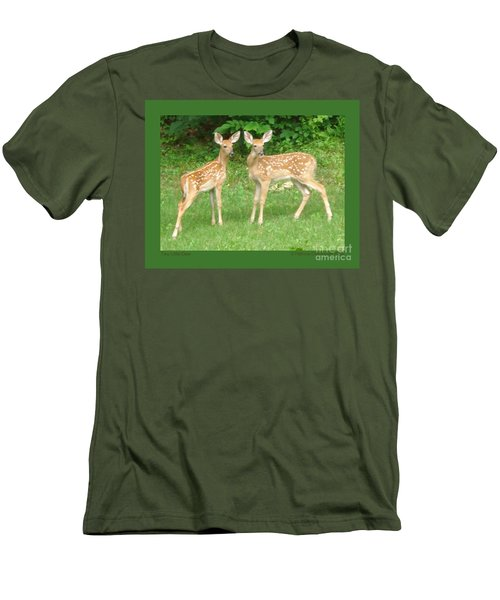 Two Little Deer Men's T-Shirt (Slim Fit) by Patricia Overmoyer