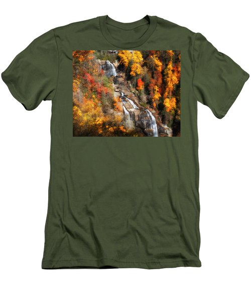 Men's T-Shirt (Slim Fit) featuring the photograph Upper Whitewater Falls by Lynne Jenkins