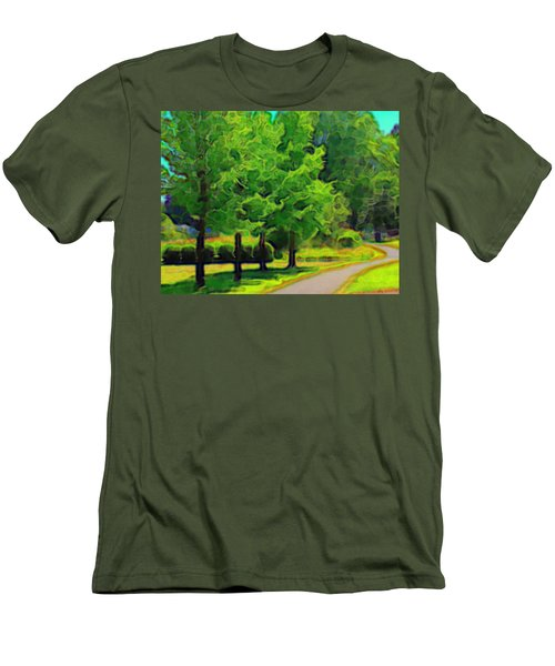 Men's T-Shirt (Slim Fit) featuring the mixed media Van Gogh Trees by Terence Morrissey