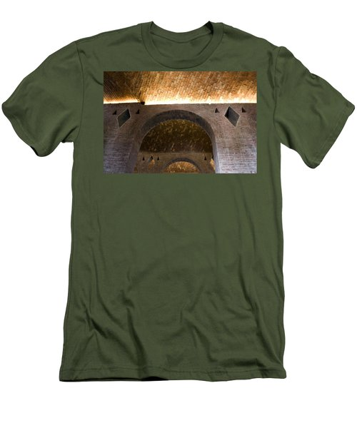 Men's T-Shirt (Slim Fit) featuring the photograph Vaulted Brick Arches by Lynn Palmer