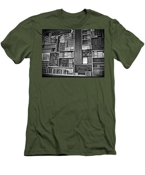 Vintage Bookcase Art Prints Men's T-Shirt (Slim Fit) by Valerie Garner