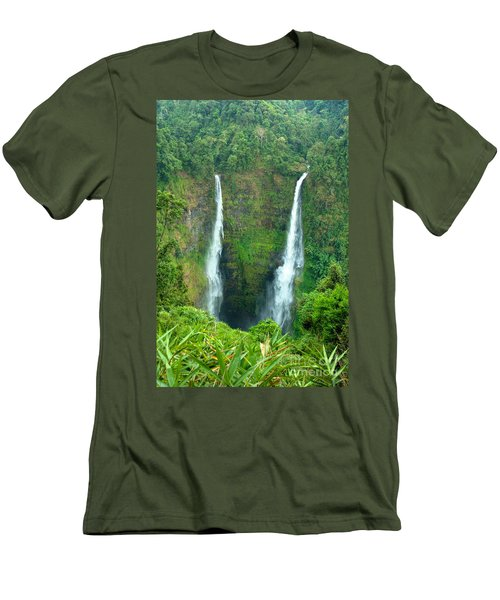 Men's T-Shirt (Slim Fit) featuring the photograph waterfall in Laos by Luciano Mortula