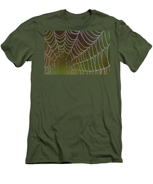 Men's T-Shirt (Slim Fit) featuring the photograph Web With Dew by Daniel Reed