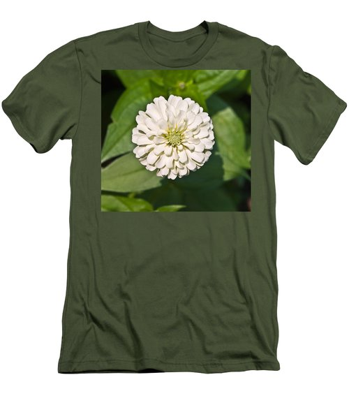 Men's T-Shirt (Slim Fit) featuring the photograph White Zinnia And Green Leaves by Susan Leggett