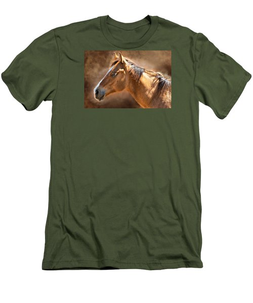 Men's T-Shirt (Slim Fit) featuring the digital art Wild Mustang by Mary Almond