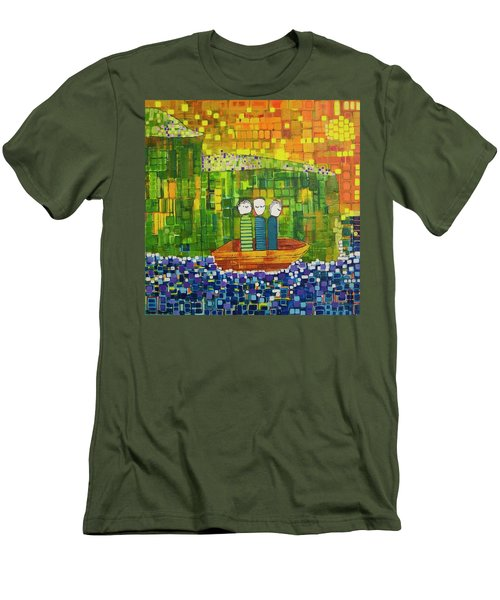 Men's T-Shirt (Slim Fit) featuring the painting Wink Blink And Nod by Donna Howard