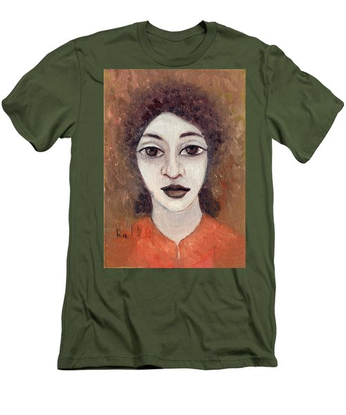 Woman With Large Dark Brown Eyes And Hair Orange Shirt Dark Eyebrows  Men's T-Shirt (Slim Fit) by Rachel Hershkovitz