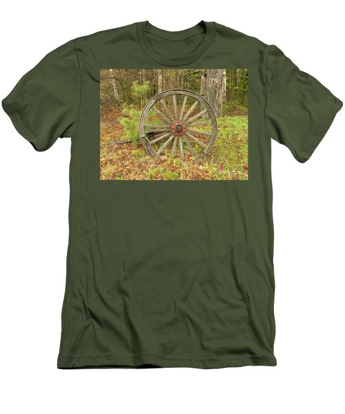 Men's T-Shirt (Slim Fit) featuring the photograph Wood Spoked Wheel by Sherman Perry