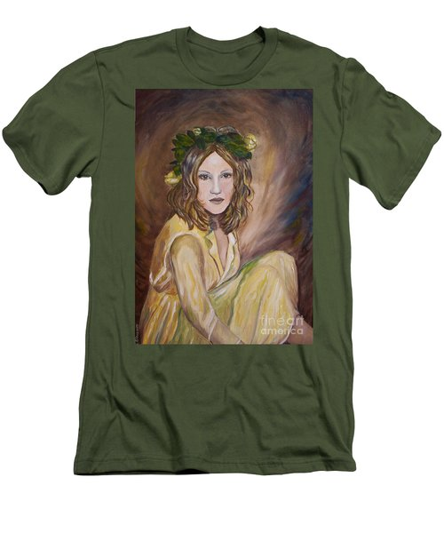 Men's T-Shirt (Slim Fit) featuring the painting Yellow Rose by Julie Brugh Riffey